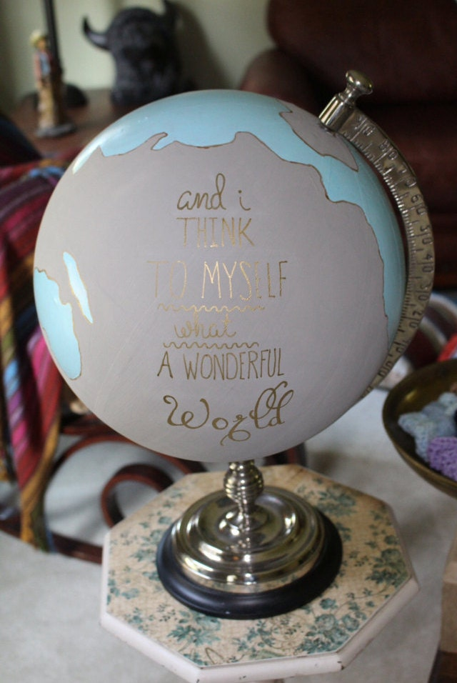 Custom Painted Wedding Guest Book Home Decor Globe