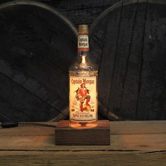 Captain Morgan's Rum Bottle Lamp - Features Reclaimed Wood Base, Edison Bulb, Twisted Cloth Wire, In line Switch, And Plug, Upcycled Light