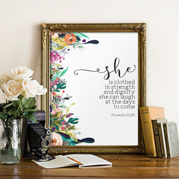 Poster She Is Clothed With Strength: Nursery Bible Verse Art Print She Is Clothed By