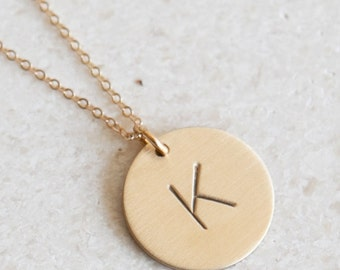Personalized Gold Initial Necklace/ Delicate Initial Necklace/ Gold Disk Necklace / Charm Necklace/ Christmas Gift/Bridesmaids Gift/N91G