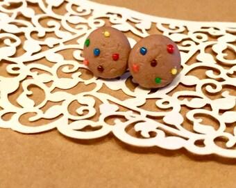 Rainbow Chip Cookie Stud Earrings