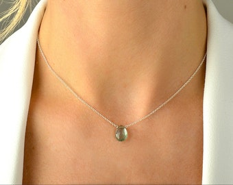 Moss Aquamarine Necklace, Aquamarine Pendant, March Birthstone Jewelry, Moss Aquamarine, 14K Yellow/ Rose Gold Filled/ Sterling Silver