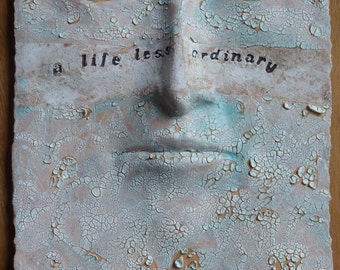 CUSTOM wall sculpture - ceramic face, unique wall art, ceramic sculpture, name or inspirational quote art by Louise Fulton Studio