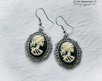 Silver skeleton lady gothic earrings-gothic earrings-earrings-Gothic jewelry-Cameo earrings