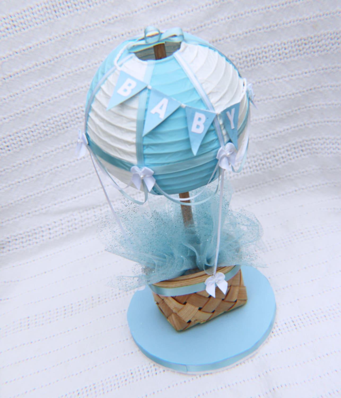 Light blue hot air balloon centerpiece or cake topper baby