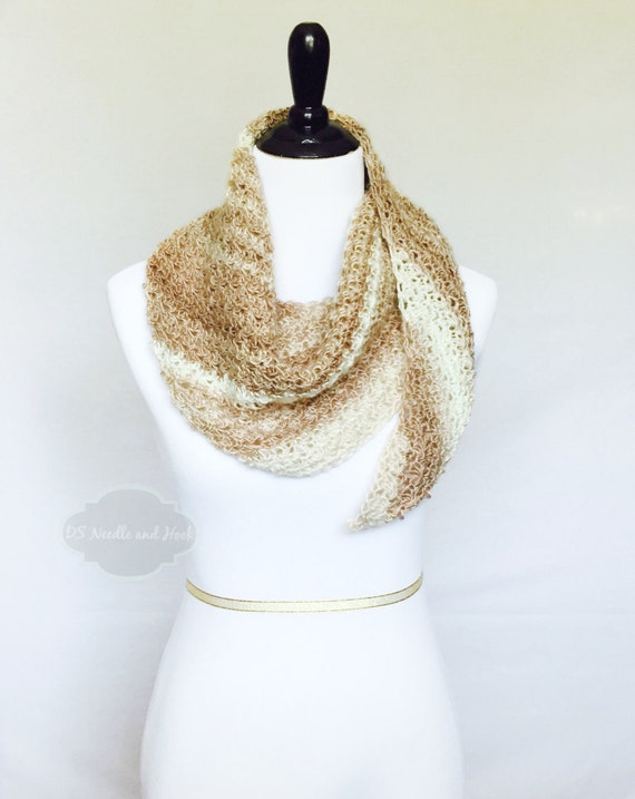 Cream and Gold Boho Crochet Scarf, Beige Triangle Scarf, Tan Shoulder Wrap, Crochet Boomerang Shawl, Beige Cowl, Beige Scarf, Striped Shawl