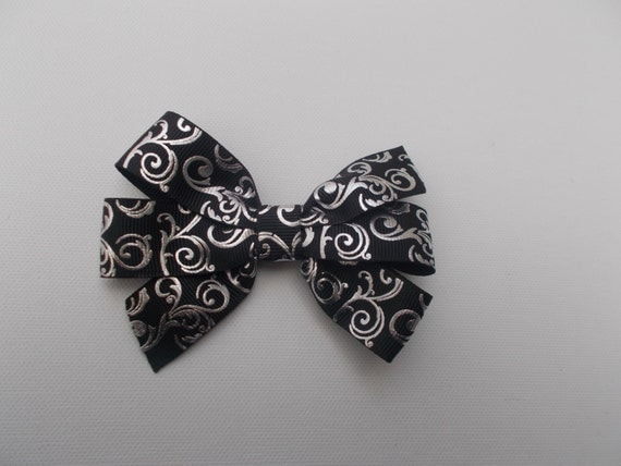 Black Silver Foil Hairbow