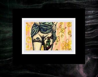 """""""Galactic Flash"""" Erotic Sci Fi Drawing [4x6"""" in 7x9"""" frame]"""