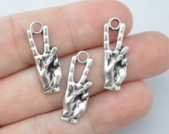 6 Pcs Hand Sign Charms Antique Silver Tone 25x9mm - YD0977