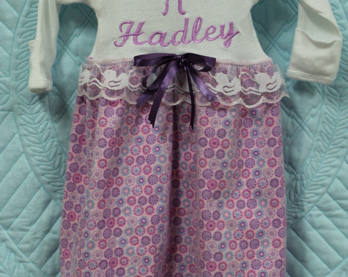 Baby girl Coming home outfit,Lavender personalized Flannel sleeping gown, Newborn baby gift, baby shower gift,Newborn girl take me home set
