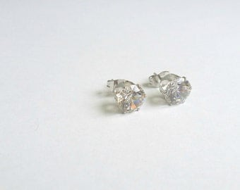 CZ Stud Earrings, CZ Studs, cz Earrings, Cubic Zirconia Studs, CZ Silver Studs, cz silver earrings, Diamond cz stud, Round cz stud, cz