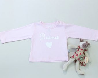 French t-shirt-kisses in French; bisous- baby girl pink t-shirt- long sleeves- Pima Cotton, special price-26