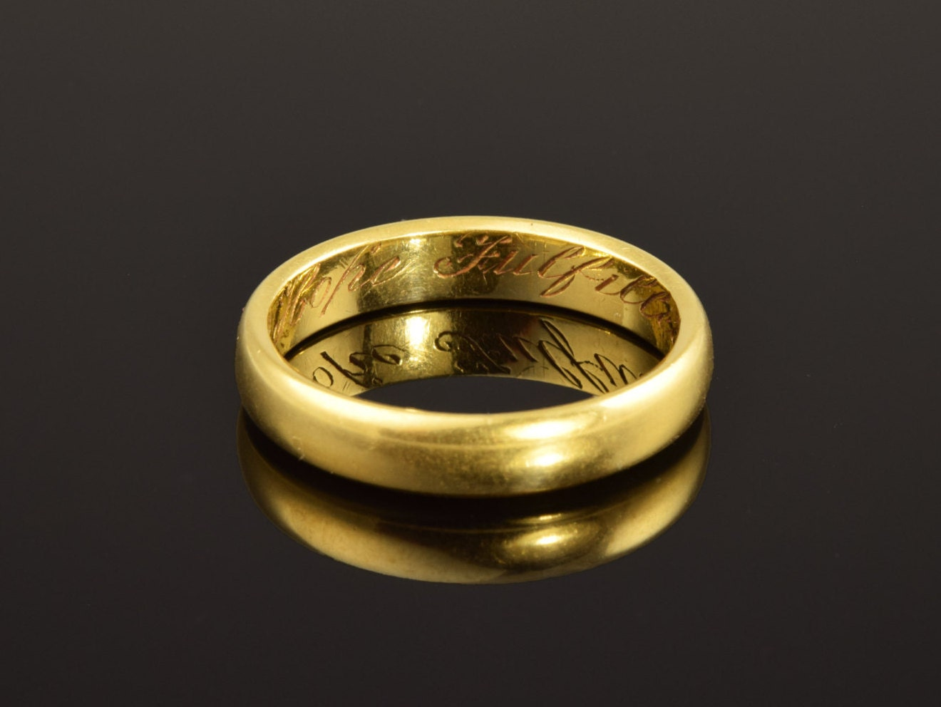 antique posy ring inscribed a fulfilled 18th march