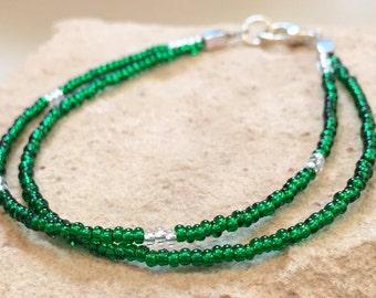 Green seed bead double strand bracelet, Czech glass seed bead bracelet, silver bracelet, boho bracelet, bracelet for fall, gift for her