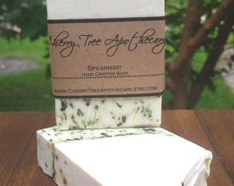 Natural Spearmint Handcrafted Soap - Vegan Soap - Bar Soap - Handmade Soap - Spearmint Soap - Mint Soap - Fresh Smelling Soap