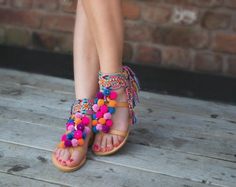 Bohemian Pom Pom Sandals '' Kizzie ', Gladiator Sandals, Strappy Sandals, Fashion Trendy