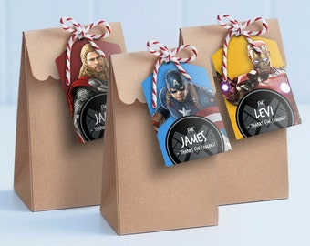 Avengers Lolly Bag Tags - Printable Loot Bag Tags / Edit & Print at home - Thor, Ironman, Hulk, Black Widow, Hawkeye and Captain America