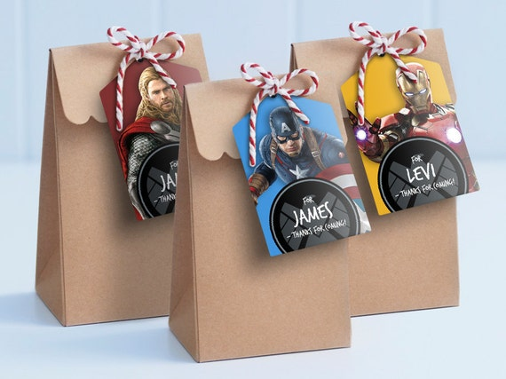 Avengers Lolly Bag Tags Printable Loot Bag Tags Edit