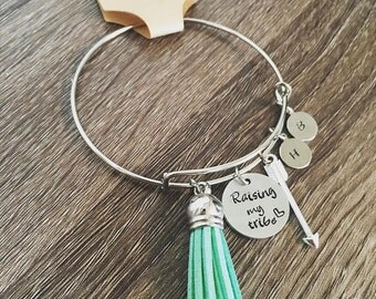 Raising My Tribe / Hand stamped bangle charm bracelet / tassel arrow charms / Personalized initials / Mother's Day  jewelry gift / Initials