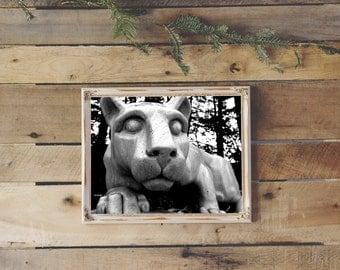 "Penn State Nittany Lion Shrine, Black and White, 8"" x 10"", Fine Art Photography, Wall Art Decor"