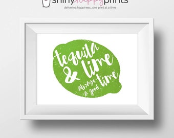Tequila Lime Digital Bar Print, 8x10 Tequila Digital Print, Instant Download 8x10 Bar Wall Art, Shiny Happy Prints