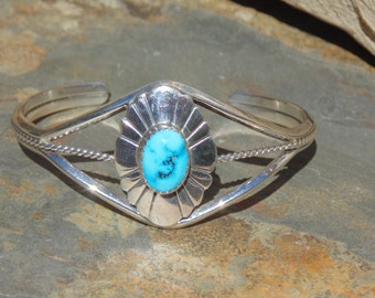 Native American ~ Sterling and Turquoise Sunburst Cuff Bracelet