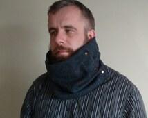 Irish tweed neck warmer - 100 % wool -navy blue  herringbone + check- ready for shipping - HANDMADE IN IRELAND