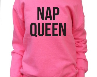 Nap Queen.  Off shoulder Slouchy Sweatshirt Women's.  Oversized Sweatshirt.