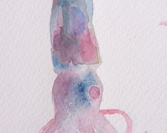 squid watercolor