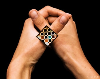 Ring Alhambra Mosaic Ceramics Tiles Colours Photography Eco-resin