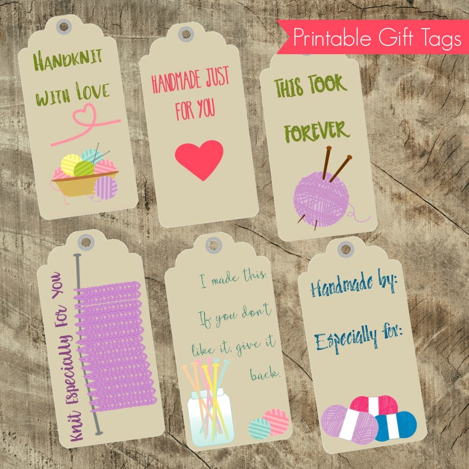 Knitting Gift Tags : Printable knitting themed gift tags with care instructions