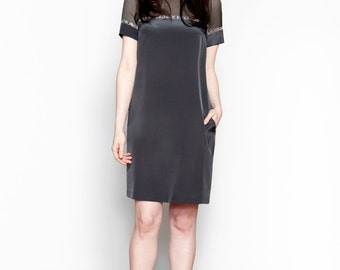 Sample Sale - Gray Panelled Silk Dress // Knee Length Dresses // Arin Shift Dress