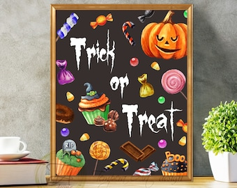 Halloween Sign, Trick Or Treat, Halloween Party, Halloween Trick or Treat Print, Funny Halloween Halloween Children Halloween Trick Or Treat