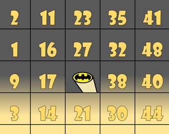 Batman inspired Bingo Cards- Set of 30 cards
