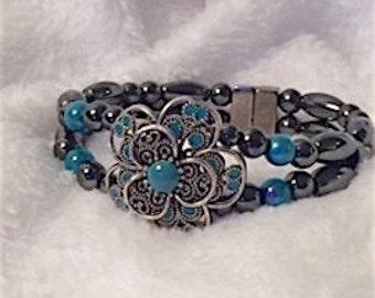 Magnetic Hematite Bracelet, Floral Turquoise