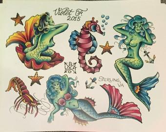 Tattoo Flash Mermaids