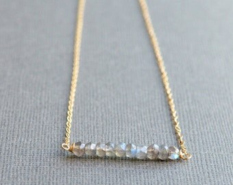 Labradorite Gemstone Necklace Simple Bar Necklace Beaded Bar Necklace Dainty Delicate Boho Chic Layering Necklace in Silver or 14K Gold Fill