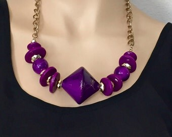 Purple Statement Necklace,Vintage Chunky Necklace 80s Jewelry Unique Gift for Her/Art Deco Big Necklace