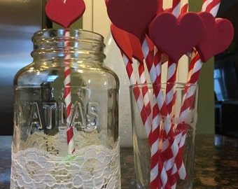 Paper straws set of 12 love heart detail