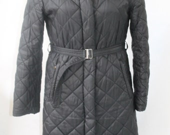 Black Quilted Coat/ Trench Coat/ Woman Small/ United Colors Benetton