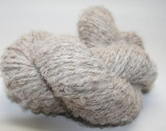ROSE GREY Alpaca, BOUCLE Yarn, Sport Weight, 3 Ply, 125 Yds, 2.5 oz, Skeined