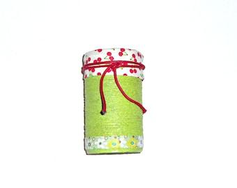 decorated jar, pencil holder, brush holder