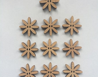 10 x Wooden Daisy Buttons