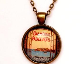 Vintage Summer Travel Poster Necklace, Bronze or Silver