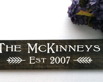 Last Name Wall Sign | Family Name Signs | Engagement Date Sign | Farmhouse Style | Our First Home Gift | Established Sign | Personalized