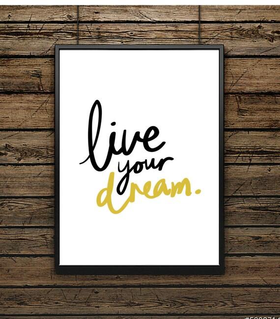 affiche phrase live your tableau scandinave. Black Bedroom Furniture Sets. Home Design Ideas
