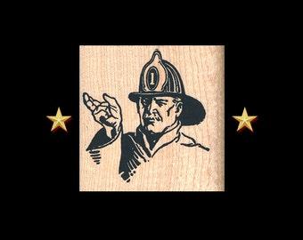 FIREMAN Rubber Stamp – Fireman Stamp, Firefighter, Fireman Gift, Firefighter Stamp, Firefighter Wedding, Fireman Scrapbooking, Retro Fireman