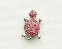 Snap Button Jewelry, Crystal Turtle Charm, Gold Turtle, Noosa Chunk Snap Button, Fits 18 - 20 mm, Popper Button, Bracelet Charm, Alloy Metal