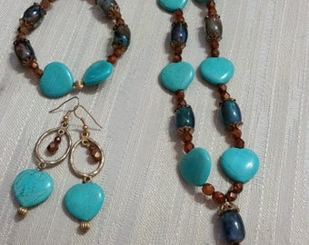 Magnesite Hearts w/ Copper Crystals Set
