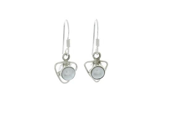 Sterling Silver Pearl Earrings, Ethnic Earrings, 925 Sterling Silver, Fresh Water Pearl